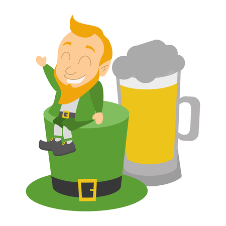 leprechaun and hat beer happy st patricks day vector illustration Ilustracja