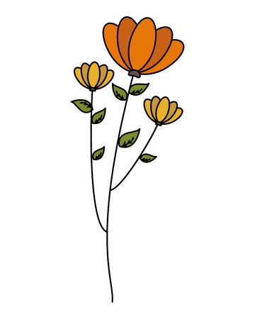 flowers stem leaves on white background vector illustration  イラスト・ベクター素材