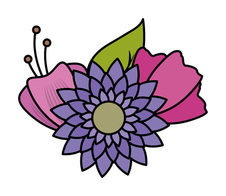 flowers leaves decoration on white background vector illustration Ilustração