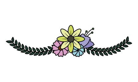 delicate flowers leaves on white background vector illustration Vektorgrafik