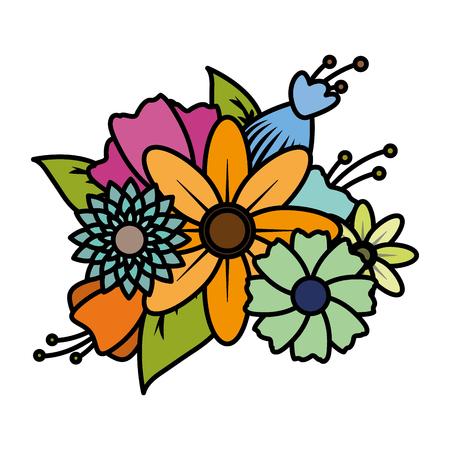 flowers leaves decoration on white background vector illustration