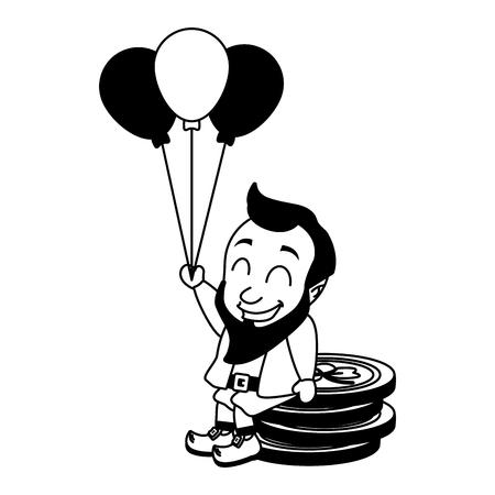 leprechaun coins balloons happy st patricks day vector illustration