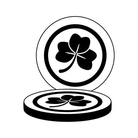 golden coins clover happy st patricks day vector illustration Foto de archivo - 115686564