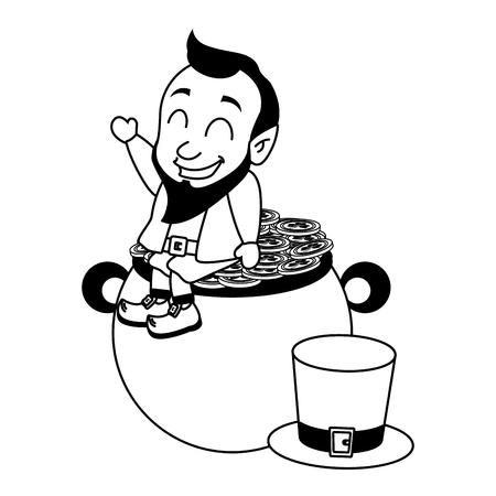 leprechaun hat coins cauldron happy st patricks day vector illustration Foto de archivo - 125978991