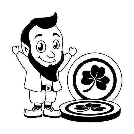 leprechaun and coins happy st patricks day vector illustration