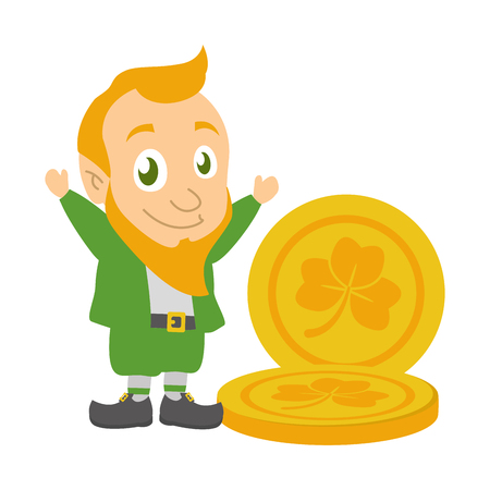 leprechaun and golden coins happy st patricks day vector illustration