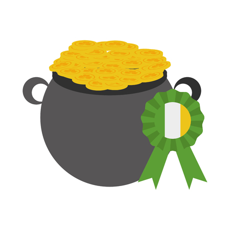 cauldron medal coins happy st patricks day vector illustration