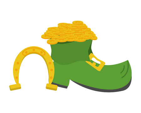shoe horseshoe coins happy st patricks day vector illustration 向量圖像