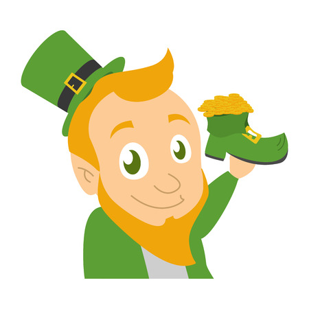leprechaun holding boot coins happy st patricks day vector illustration