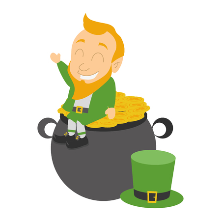 leprechaun hat coins cauldron happy st patricks day vector illustration
