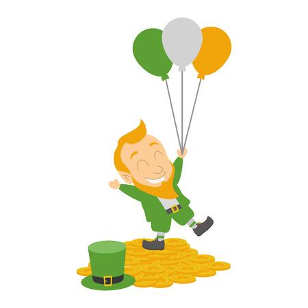 leprechaun with balloons coins happy st patricks day vector illustration