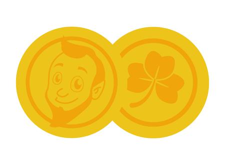 golden coins leprechaun face clover st patricks day vector illustration Foto de archivo - 125979023
