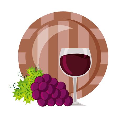 bunch grapes barrel and cup vector illustration