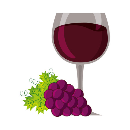 wine glass cup bunch fresh grapes vector illustration 向量圖像