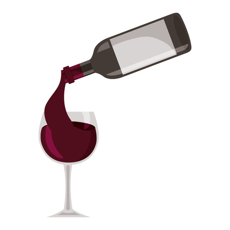 wine bottle pouring glass cup vector illustration