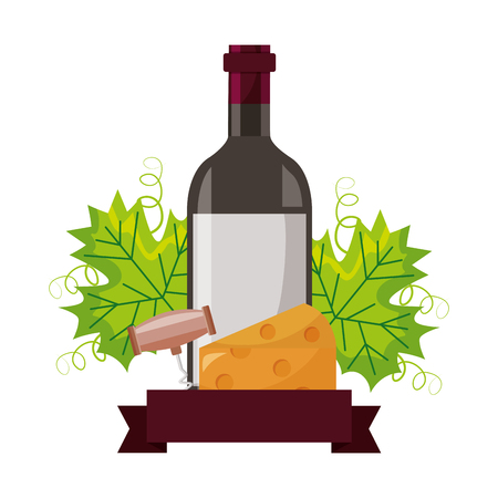 wine bottle cheese corkscrew and leaves vector illustration