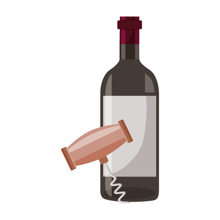 wine bottle corkscrew on white background vector illustration Banco de Imagens - 115687347
