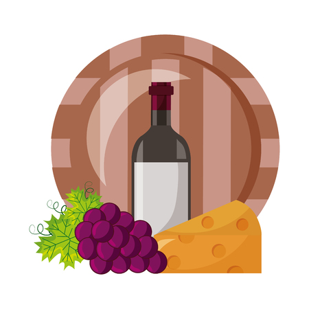 wine bottle barrel cheese and fresh grapes vector illustration Illustration