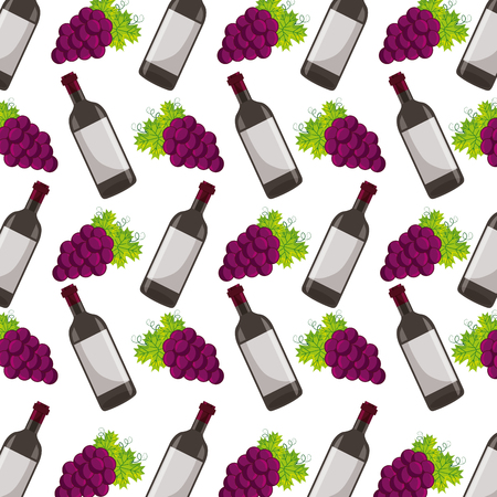 background wine bottle and grapes vector illustration Иллюстрация