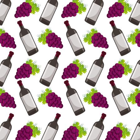 background wine bottle and grapes vector illustration Illustration