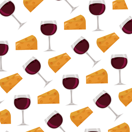 background wine cup and cheese vector illustration