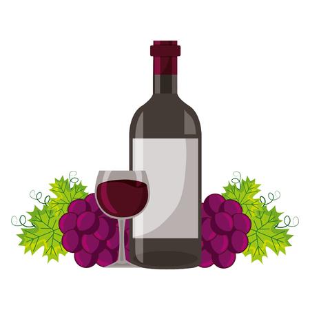 wijnfles beker en verse druiven vectorillustratie