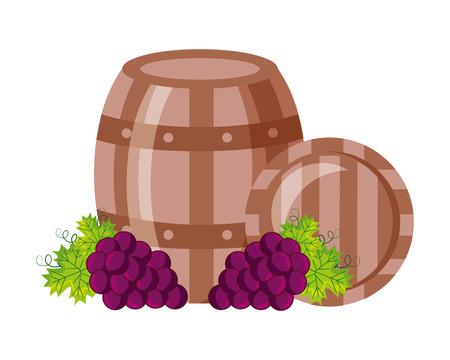 wooden barrels bunch fresh grapes vector illustration