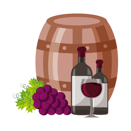 wine bottles cup barrel and fresh grapes vector illustration