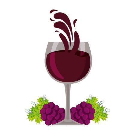 wine cup bunch fresh grapes splash vector illustration