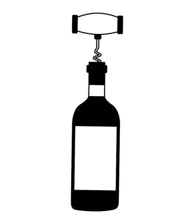 wine bottle corkscrew on white background vector illustration