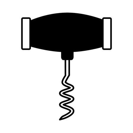 corkscrew tool icon on white background vector illustration