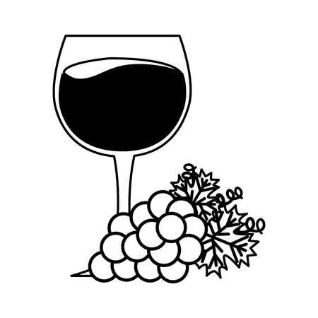 wine glass cup bunch fresh grapes vector illustration 일러스트