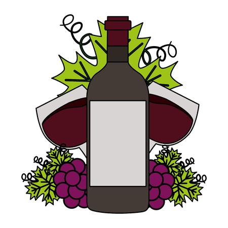 wine bottle cups and bunch grapes vector illustration Ilustração