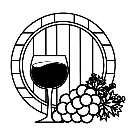 bunch grapes barrel and wine cup vector illustration