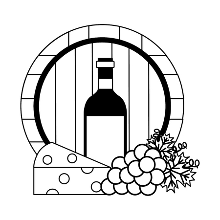 wine bottle barrel cheese and fresh grapes vector illustration Stock Illustratie