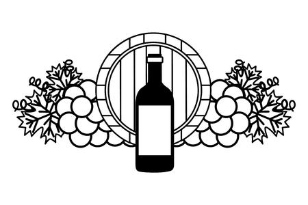 Ilustración de vector de uvas de barril de madera de botella de vino