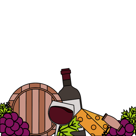 wine bottle cup barrel cheese crokscrew grapes vector illustration