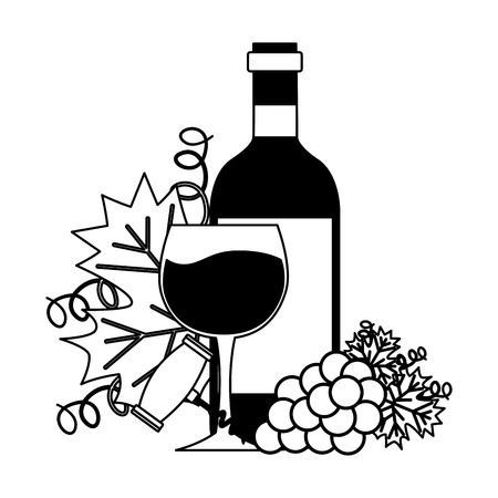 wine bottle cup corkscrew bunch fresh grapes vector illustration Imagens - 115687501