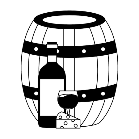 wine bottle cheese barrel and cup vector illustration Illustration