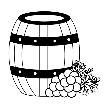 wooden barrel bunch fresh grapes vector illustration