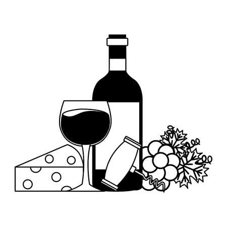 wine bottle cup corkscrew cheese grapes vector illustration