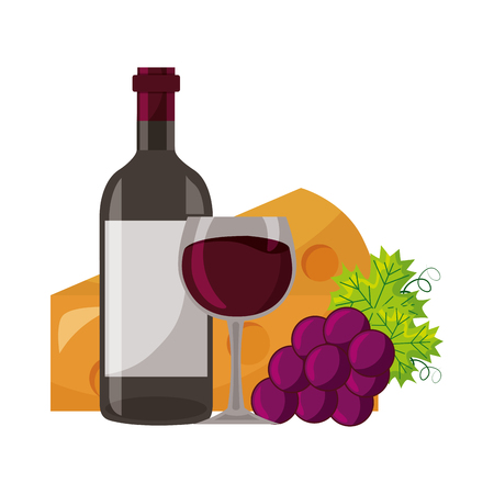 wine bottle cup fresh grapes and cheese vector illustration Stok Fotoğraf - 115687561