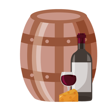 wine bottle cheese barrel and cup vector illustration Ilustrace