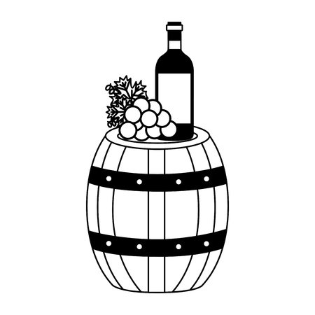 wine bottle wooden barrel grapes vector illustration Zdjęcie Seryjne - 115687564