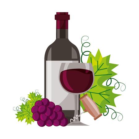 wine bottle cup corkscrew bunch fresh grapes vector illustration