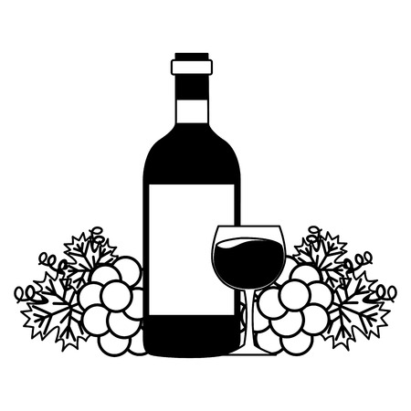 wine bottle cup bunch fresh grapes vector illustration