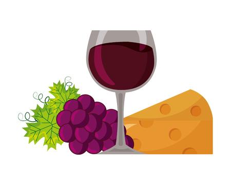 Copa de vino queso racimo uvas ilustración vectorial