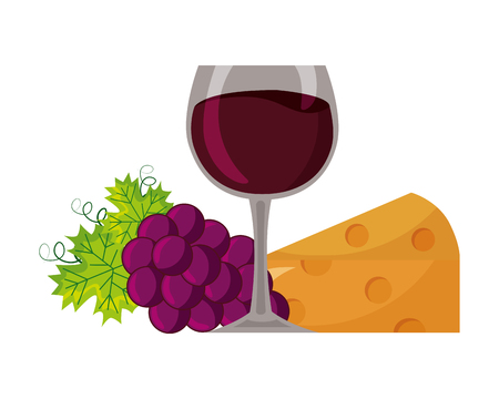 wine cup cheese bunch grapes vector illustration