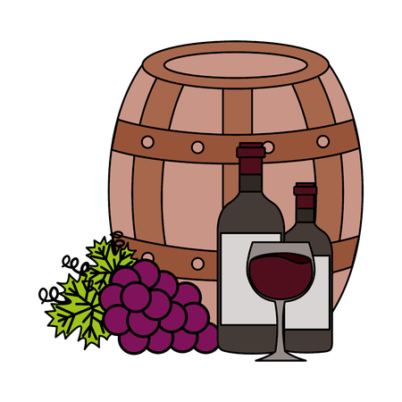 wine bottles cup barrel and fresh grapes vector illustration Stok Fotoğraf - 115687872