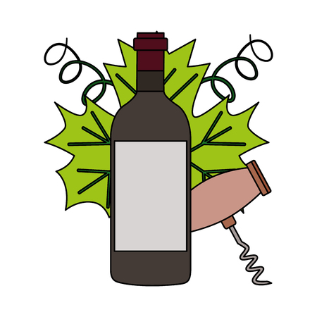 wine bottle corkscrew on white background vector illustration Archivio Fotografico - 115687873